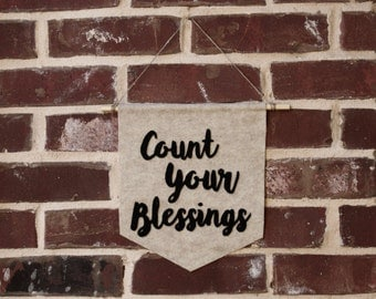 Count Your Blessings Felt Wall Banner- Thanksgiving Wall Decor