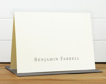 Personalized Stationery Set / Personalized Stationary Set - CLASSIC Custom Personalized Note Card Set - Masculine Simple