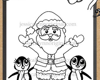 Santa Claus with some adorable penguins Digital Stamp Holiday Christmas Cards showing off Happy Feet
