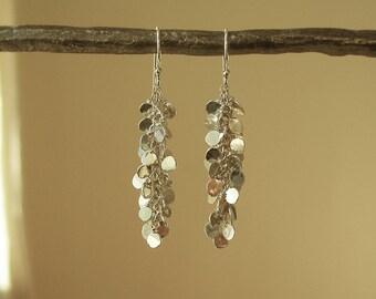 Hammered Silver Dot Waterfall Earrings – Chandelier Earrings - Sequin - Dangle -  Confetti – Long Earrings  - Fine Silver - Sterling Silver