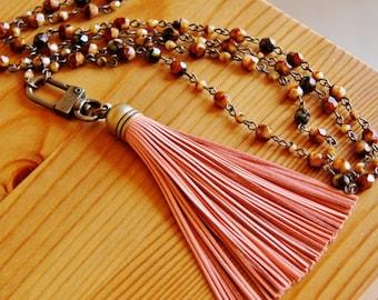 Leather tassel pendant necklace, bohemian necklace, coral tassel necklace, orange necklace, brown necklace, yoga necklace long boho necklace