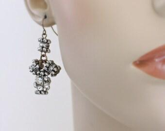 Vintage Earrings - Crystal Earrings - Mixed Metal Earrings - Bridesmaid Earrings - Vintage Wedding Earrings - handmade Jewelry