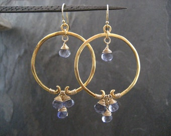 Iolite hoops, iolite earrings, blue dangle, gemstone hoops, circle earrings, genuine iolite, drop earrings