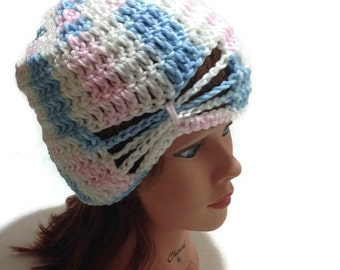 Ombre Bow Beanie, Bow Hat, Girls Hat,  Butterfly Hat, Pastel Ombre Beanie, Crochet Womens Hat, Crochet Bow Hat, Butterfly Hair Accessories