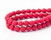 Saturated Fuchsia Rose Fire Polished Round Spacer Beads, Dark Pink, Matte Opaque Faceted Czech Glass (6mm) x 25