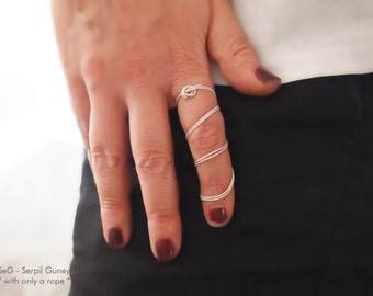 "Rope Knot Full Finger Ring -  Fine Silver String  Ring - "" With Only a Rope "" Collection, Soft Metal, Fine Silver"