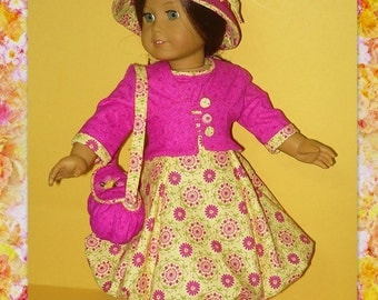 1950's Bubble Dress, Jacket, Hat, Purse Fits American Girl Doll Mary Ellen