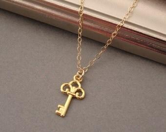 Gold Key Necklace, Gold Key Charm Necklace, Tiny Key, Skeleton Key, Key Jewelry, Little Key, Key Pendant, Gold Layering Necklace, Layered