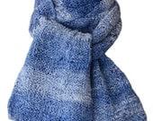 Hand Knit Scarf  - Denim Blue Cotton Basketweave