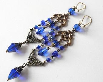 Royal Blue Earrings Shoulder Duster Victorian Wedding Gold Cobalt Blue Vintage Historical Reenactment Jewelry