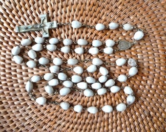 Antique Job's Tears Rosary - Sacred Heart Our Lady of Mount Carmel signed AP