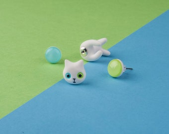 White Earring Cat Accessories / Angora / Blue & Green studs / White Kitty Accessories / Fake Gauge / Fake Plug / Polymer Clay Fimo