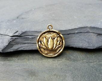 Gold Lotus Charm, Gold Lotus Pendant, N16, Large Lotus Charm, Gold Lotus Charm, Lotus Flower Charm, Lotus Flower Pendant, lotus coin charm