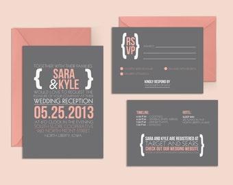 Fun Wedding Invitation and RSVP Postcard, Coral and Grey Wedding Invitation, Modern Wedding Invitation, Whimsical Wedding, Printable Wedding