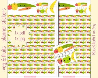 healthy eating stickers - instant download - printable kawaii planner - veg and fruits - commercial use allowed - health diary journal