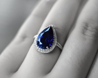 Blue Sapphire Ring Blue Sapphire Engagement Ring September Birthstone Ring Blue Statement Ring Wedding Ring Halo Engagement Ring