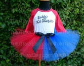 """SALE Girls Harley Quinn Suicide Squad Tutu Costume Set Daddy's Lil Monster Red 3/4 Sleeved Raglan Shirt & Red and Blue 8"""" Economy Tutu Skirt"""