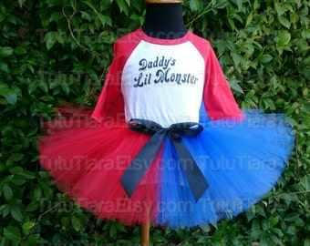 "SALE Girls Harley Quinn Suicide Squad Tutu Costume Set Daddy's Lil Monster Red 3/4 Sleeved Raglan Shirt & Red and Blue 8"" Economy Tutu Skirt"