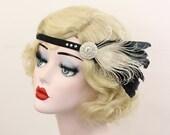 Peacock Feather Fascinator, Black Headband, Great Gatsby Headpiece, Rhinestone Hair Accessory, 1920s Flapper Headpiece, Girls Dance Costume