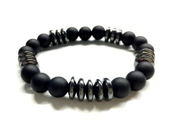 Guys Bead Bracelet. Men's Stone Jewelry. Black Onyx, Hematite Bead Bracelet. Stretch Bracelet. Elastic Bracelet. Gift for Boyfriend