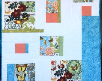 Modern Baby Blanket, Infant Cradle Quilt, Shower Gift, Shabby Chic Summer Cottage, blue green peach flowers and birds.