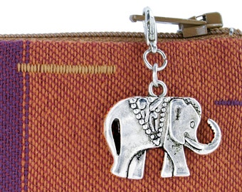 Silver elephant zipper pull with charm clips on to jackets and purses
