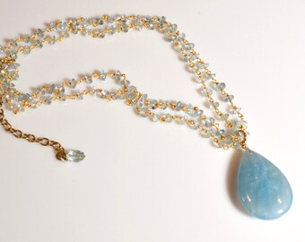 LP 1267 Huge, Polished, Sky Blue Aquamarine Teardrop and Sparkling Aquamarine Hand Wrapped Vermeil Chain Necklace