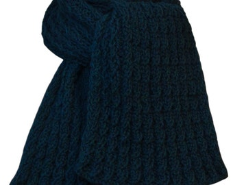 Knit Scarf - Blue Green Aporto Wool Cable Rib