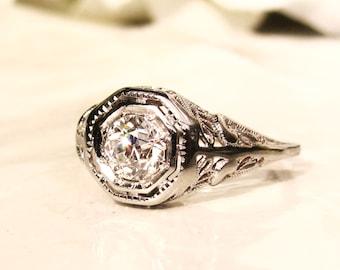 Antique Engagement Ring 0.61ct Old European Cut Diamond Edwardian Engagement Ring 18K White Gold Heart Motif Filigree Antique Wedding Ring