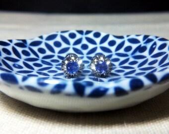 Cornflower Blue Sapphire Stud Earrings, 18k White Gold