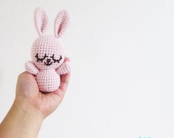 Crochet Baby Bunny - handmade adorable cotton pink blush stuffed amigurumi rabbit nap cuddle plush chew toy doll animal newborn photo prop