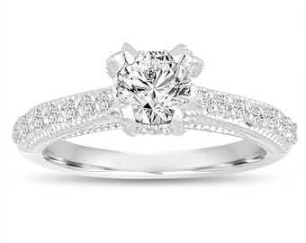 0.82 Carat GIA Diamond Engagement Ring, Wedding Ring 14K White Gold Vintage Style Unique Handmade Certified