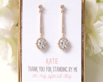 E345-G Bridesmaids Earrings, Wedding Long Drop Earrings, Personalized Bridesmaids Gift, Gold Earrings For Bridesmaids, Long Drop Earrings