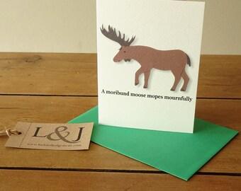 Moose - Animal Alphabet - ABC Cards - Kids Card - Moose Card - Moose Greeting Card - Alphabet Cards - Illustrated Animal - Blank Card