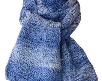 Hand Knit Scarf  - Denim Blue Cotton Basketweave