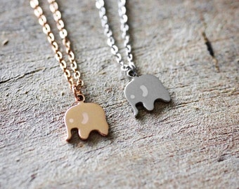 Elephant Necklace, Good Luck, Gift, Rose Gold Necklace, Silver Necklace, Dainty Necklace, Woodland, Delicate Necklace, Elephant, Christmas