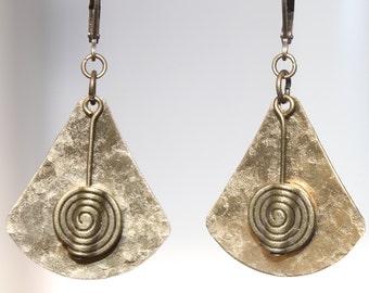 Hammered Brass Earrings African Ethnic Native American Inspired Earrings Metal Earrings Bohemian Earrings Dangle Boho Jewelry Gift Ideas