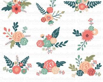 Floral illustration vector - Digital Clipart - Instant Download - EPS, PNG files included