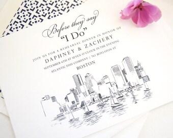 Boston Skyline Rehearsal Dinner Invitations (set of 25 cards)