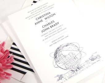 Queens Museum, New York, Unisphere, Worlds Fair Invitations Package (Sold in Sets of 10 Invitations, RSVP Cards + Envelopes)