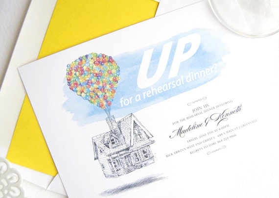 Up Themed Wedding Invitations: Disney UP Inspired Theme Wedding Rehearsal Dinner Invitation