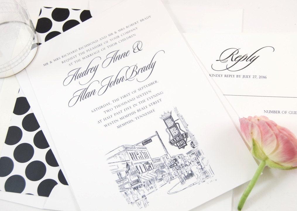 Wedding Invitations Memphis Tn: Beale Street Memphis Skyline Wedding Invitation Package Sold