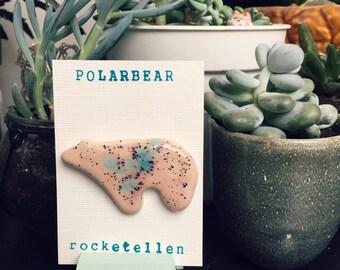 Ceramic polar bear brooch