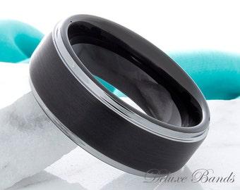 Black Tungsten Ring 8mm Tungsten Wedding Band Two Tone Black Tungsten Ring Mans Wedding Band Womens Tungsten Ring Matching Couple Ring Set