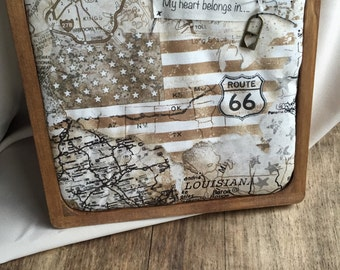 "Wall Art - customize location. One of a kind ""My heart belongs in... movable pin on vintage map fabric"