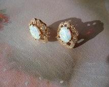 antique vintage 9ct gold opal earrings 9 ct ear rings