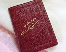 FRENCH 1919 ALMANAC -Tiny Map of Paris! -Petit Bijou Calendar -Antique Edwardian Miniature Embossed Leather Book -Bisque Doll Accessories