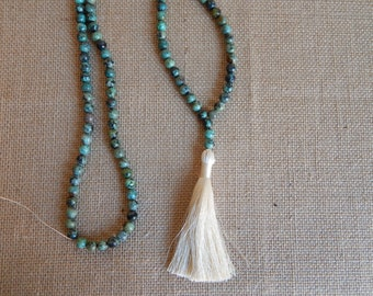 Long african turquoise necklace with silky tassel, layering necklace, beach chic, boho style, fall fashion, beige tassel, everyday