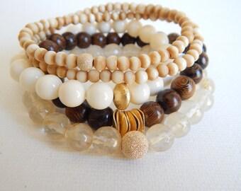 SALE Boho bracelet set, beach chic, boho fashion, stacking bracelet, fall fashion, boho jewelry, neutral, bone beads, layering bracelets