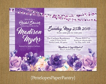 Rustic Purple Bridal Shower Invitations,Purple Flowers,Purple Rustic Wood,Purple Fairy Lights,Customize,Printed Invitations,Envelopes